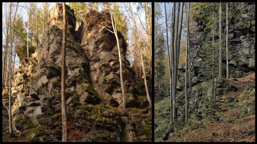 Ludvíkovské skalní město, Žofka,údolní stěna,podzim